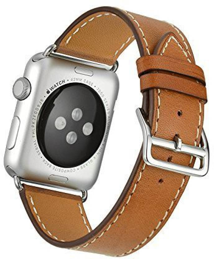 93bda4607065b2 ACUTAS Genuine Leather Watch Band Strap Replacement Wrist Band with Adapter  Clasp for Apple Watch Series 3/2/1 (38MM) Smart Watch Strap (Brown)