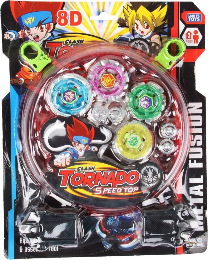 Toyvala 4 Beyblade Set With Ripchord Launcher And Assemble Tool 8d