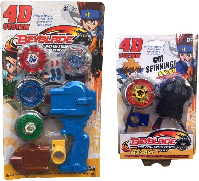 96bbf5b9d Assemble Beyblade 4D 4 in 1 System Combo Metal Masters Fury With Handle  Launcher (Multicolor)