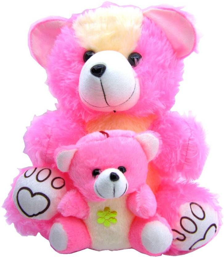Pink Teddy Mother And Baby Huggable Bear With Combo Of Child For Girlfriend Birthday Gift Boy Girl 41 Cm