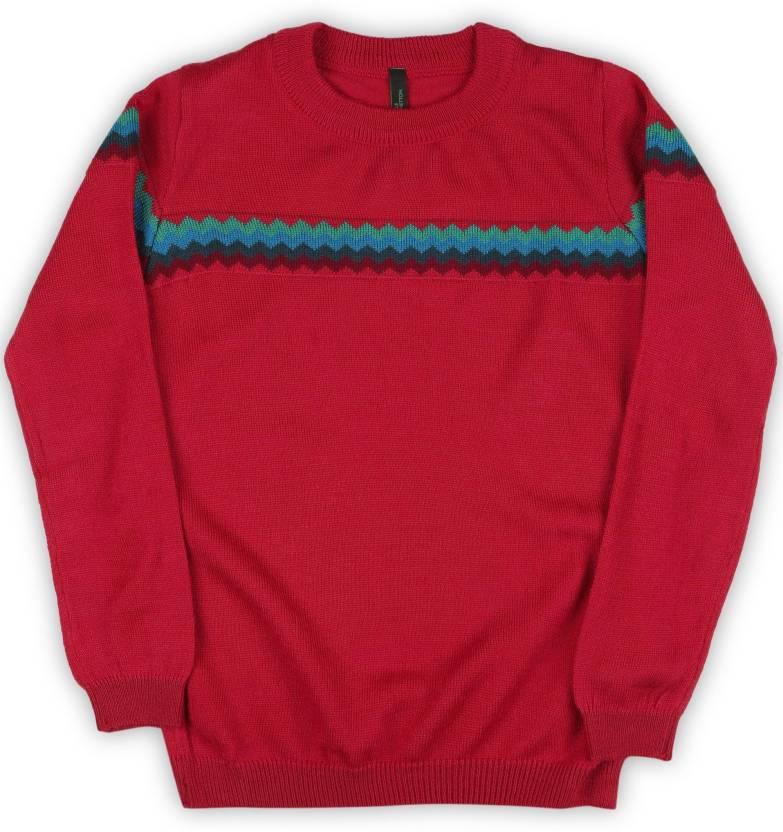 e73c0e456fc3 United Colors of Benetton. Self Design Round Neck Casual Boys Red ...