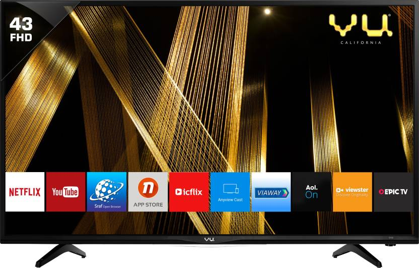 Best Smart TV's Under 50000Rs - Vu 109cm (43 inch) Full HD LED Smart TV  (43D6575)