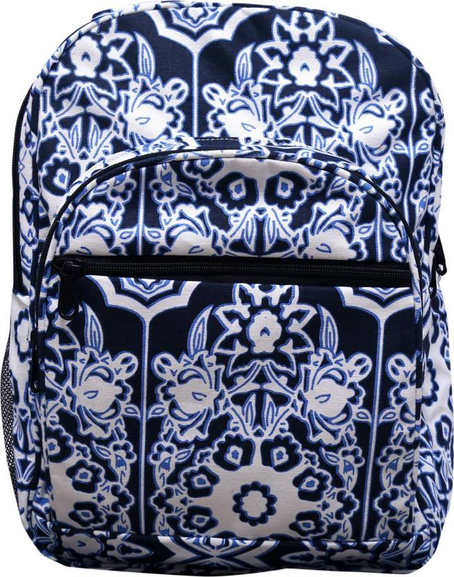60d3d7ba6d BEST SHOP casual backpack for girls with beautiful canvas floral print in  white and blue colour 19 L Backpack (Blue)