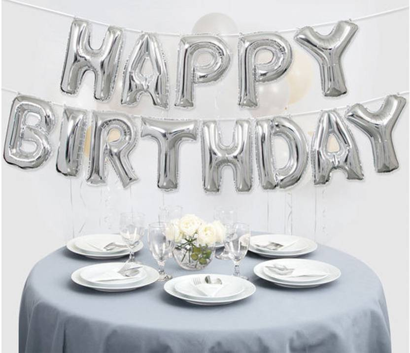 amfin printed happy birthday letter foil silver balloon with air pump birthday balloon