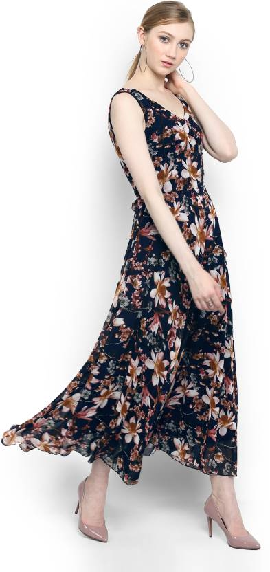 50feadee820 Harpa Women s Maxi Multicolor Dress - Buy Dark Blue Harpa Women s Maxi  Multicolor Dress Online at Best Prices in India