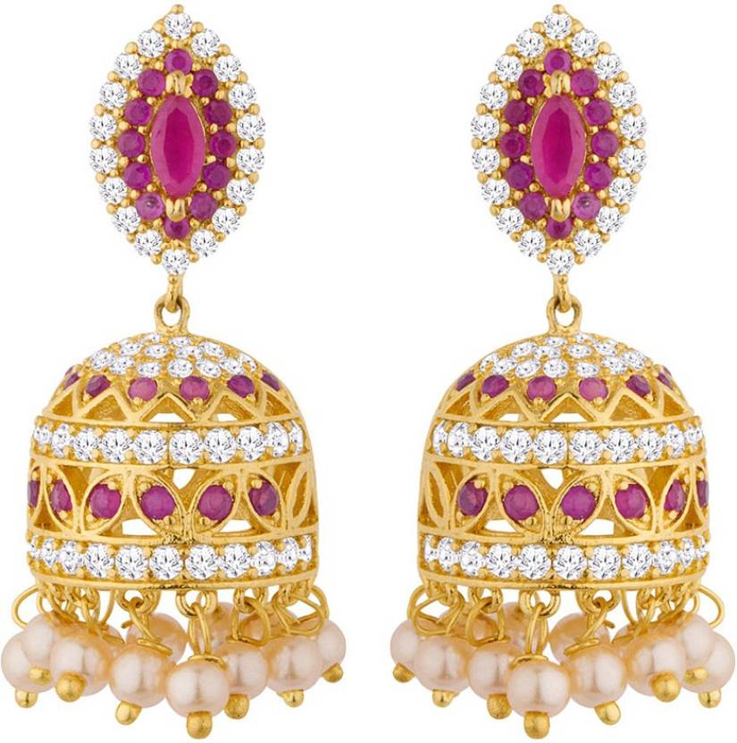e16a33593 Flipkart.com - Buy Voylla Special Pink CZ Swarnam Jhumka Earrings Cubic  Zirconia Brass Jhumki Earring Online at Best Prices in India