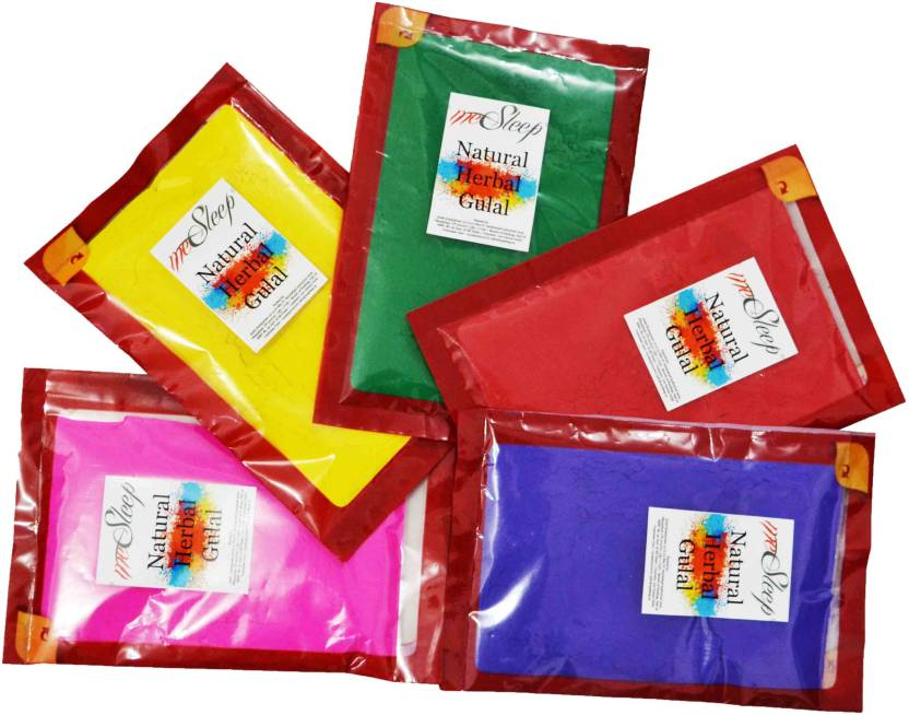 meSleep Holi Color Powder Pack of 5  (Red, Blue, Green, Yellow, Pink, 500 g)-45% OFF