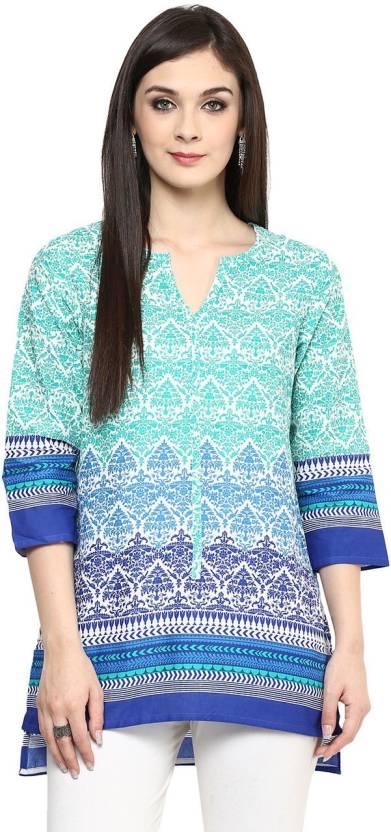 350ac735880 Akkriti by Pantaloons Casual Printed Women s Kurti - Buy Green ...