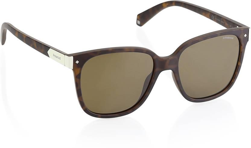 23e18dbaf8 Buy Polaroid Wayfarer Sunglasses Brown For Women Online   Best ...
