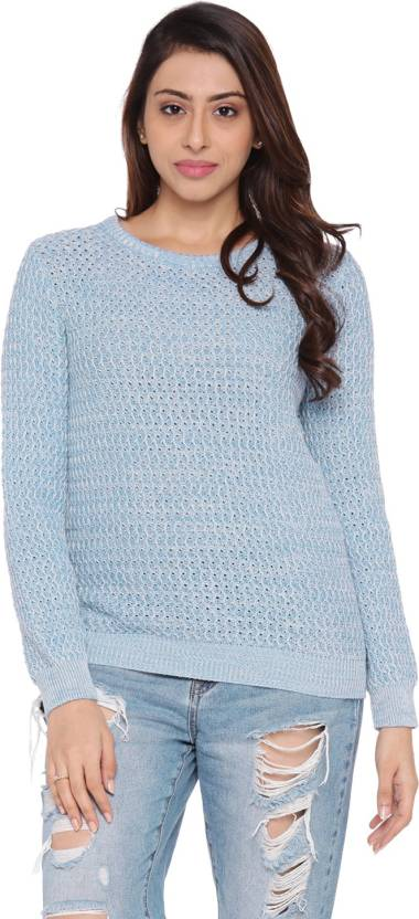 Honey By Pantaloons Solid Round Neck Casual Womens Light Blue