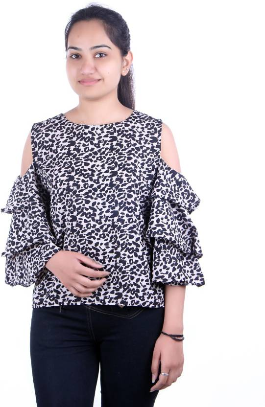 834547a9aef Looks United Party Cold Shoulder Animal Print Women's White, Blue ...