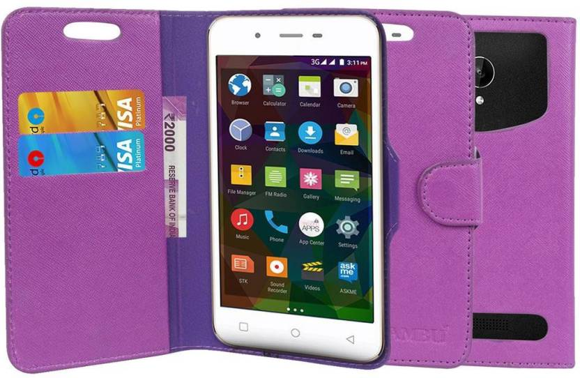 CHAMBU Flip Cover for Micromax Q346 Purple, Shock Proof