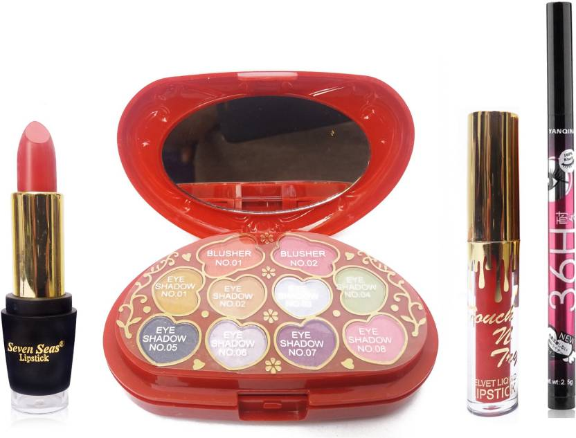 FEMINA09 ADS MAKEUP KIT A8808 COMBO COSMATIC WITH SEVEN SEAS 1 LIPSTICK 1 liquid lipstick 36h