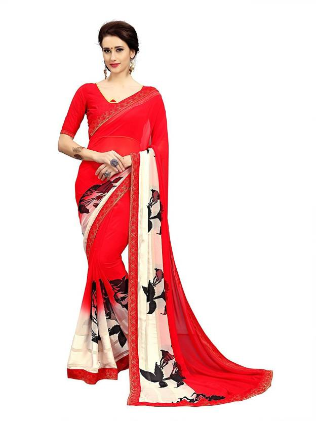 546fea549cdb8 Buy Wow Creation Printed Bollywood Georgette Red Sarees Online ...
