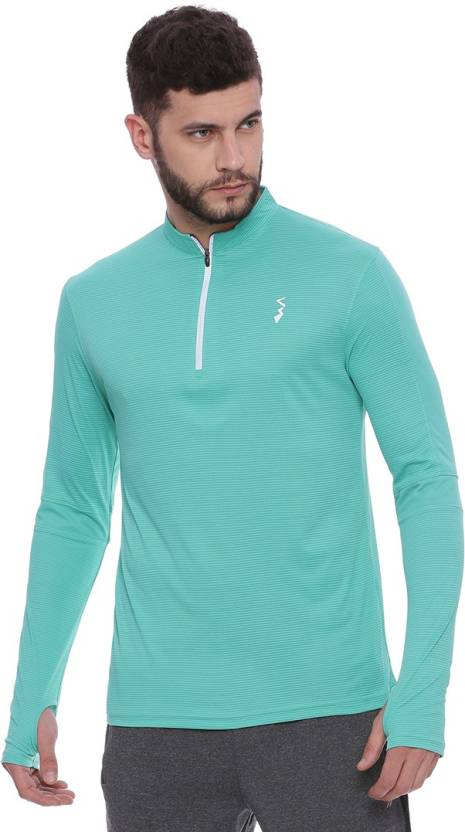 03466098f Campus Sutra Striped Men Mandarin Collar Light Blue T-Shirt - Buy Campus  Sutra Striped Men Mandarin Collar Light Blue T-Shirt Online at Best Prices  in India ...