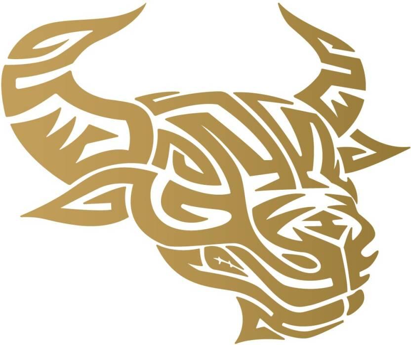 Wall Design Sticker In Bike Tribal Bull Ready To Race - Gold