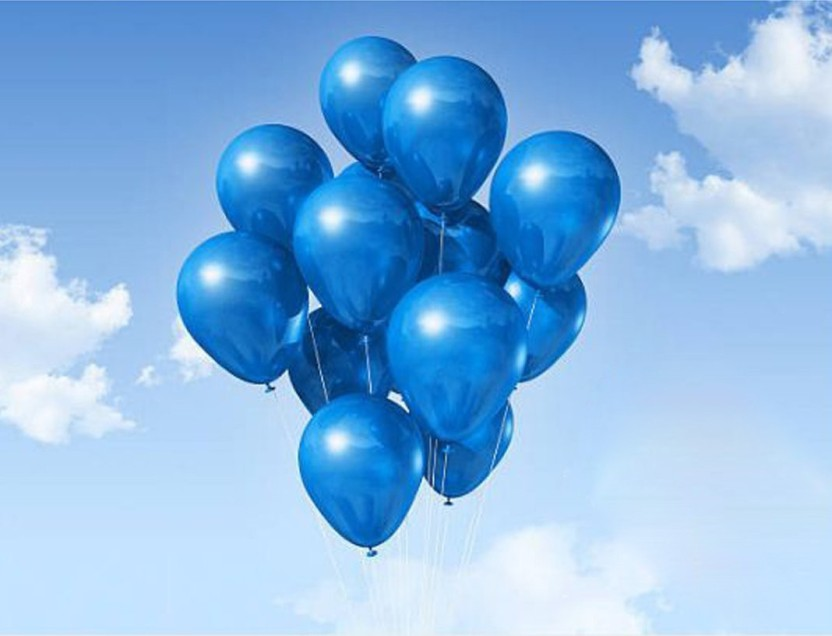 10 White Cloud Latex BALLOONS Blue Sky Printed Baby Shower Party FREE SHIPPING