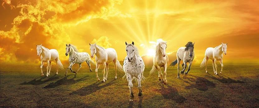 Vastu Poster White 7 Horse Running Sticker Poster 24 X 12 Paper