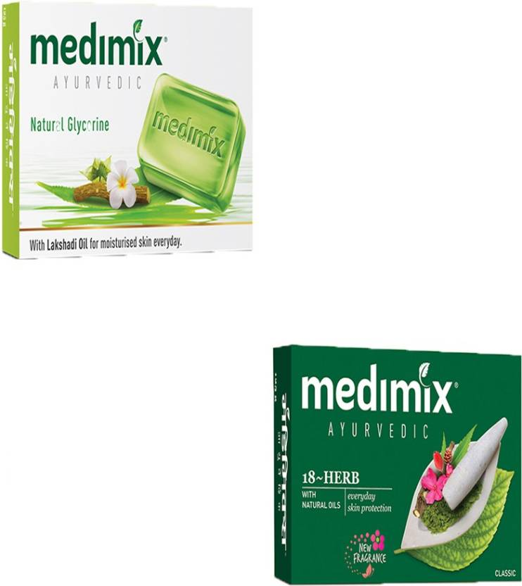 MEDIMIX AYURVEDIC 18 HERBS 125 GM SOAP WITH NATURAL OIL FOR EVERYDAY SKIN  PROTECTION AGAINST PIMPLES + AYURVEDIC NATURAL GLYCERINE SOAP 125 GM WITH