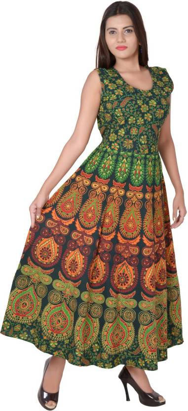 9386059dfb7 Jaipuri Fashionista Women Maxi Multicolor Dress - Buy Jaipuri ...