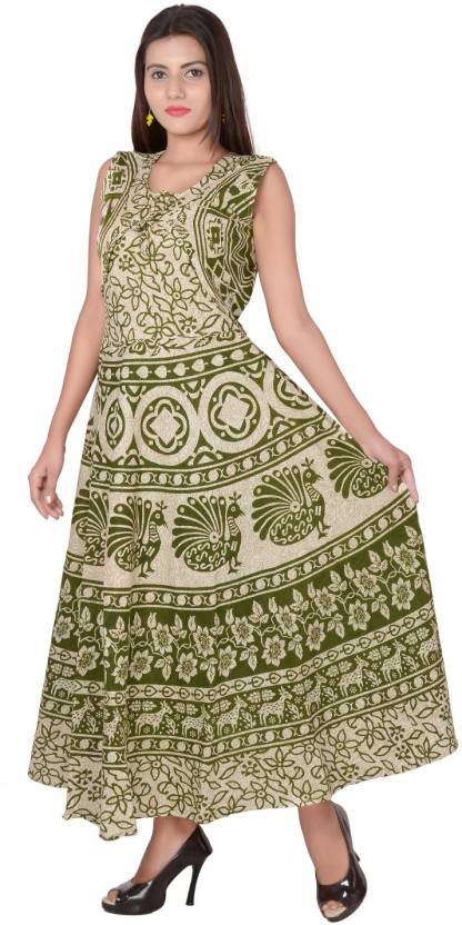 713e5aeed20 Jaipuri Fashionista Women Maxi Green