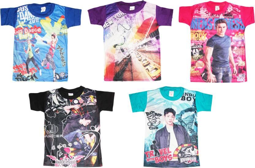 44d83ce1e92 Kifayati Bazar Boys Printed Cotton Polyester Blend T Shirt Price in ...