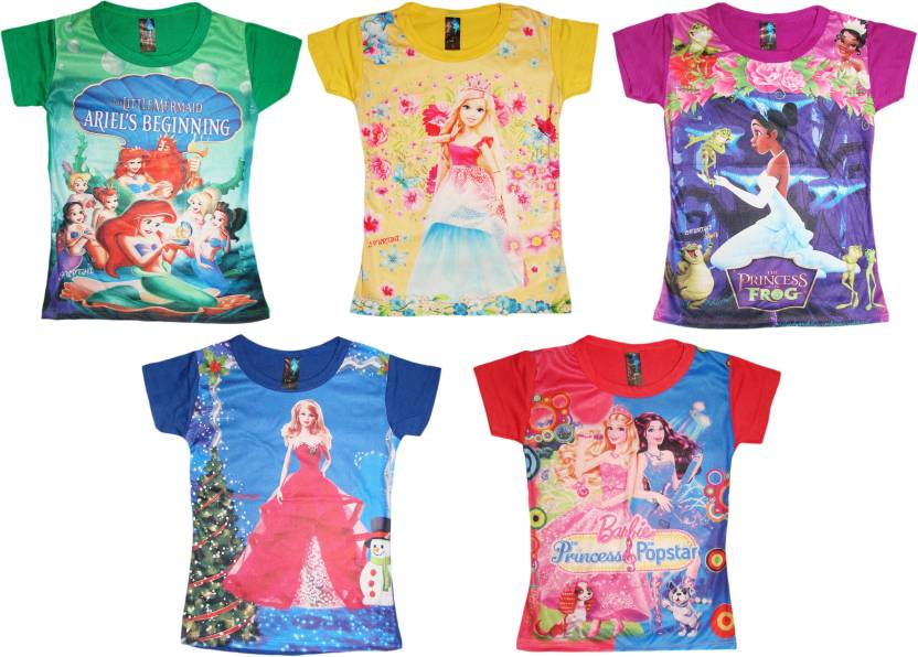 8f885e03b Kifayati Bazar Girls Printed Cotton Polyester Blend T Shirt (Multicolor,  Pack of 5)