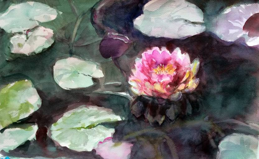 Tallenge Delicate Water Color Lotus Pond By Sam Mitchell Lotus