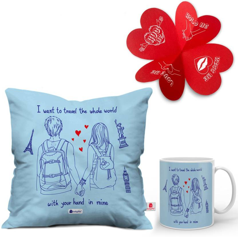 Indigifts Valentine Gift Set For Boys Him Boyfriend Love Husband Hubby Birthday Anniversary Engagement Special D CM001 HIS16007 Cushion