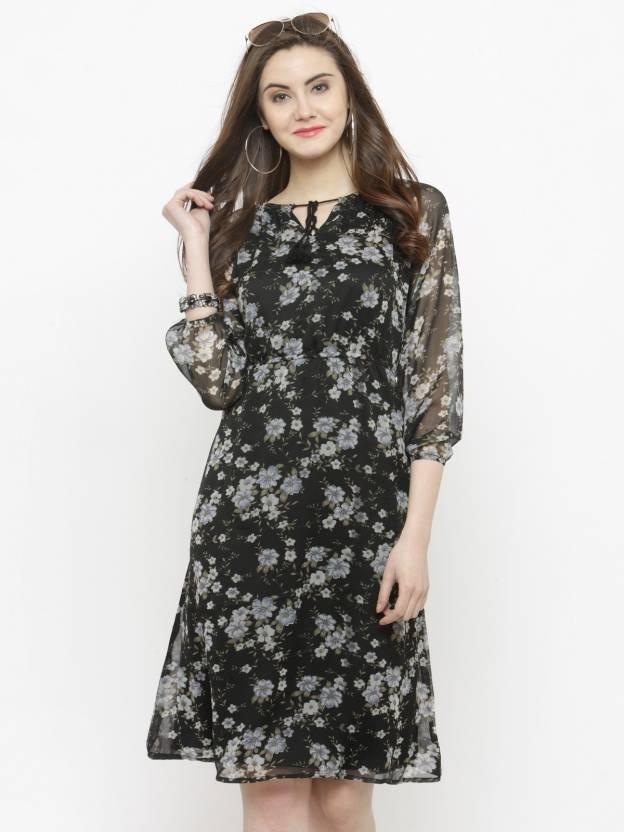 93796287a6 Sera Women Fit and Flare Black Dress - Buy Sera Women Fit and Flare Black Dress  Online at Best Prices in India | Flipkart.com