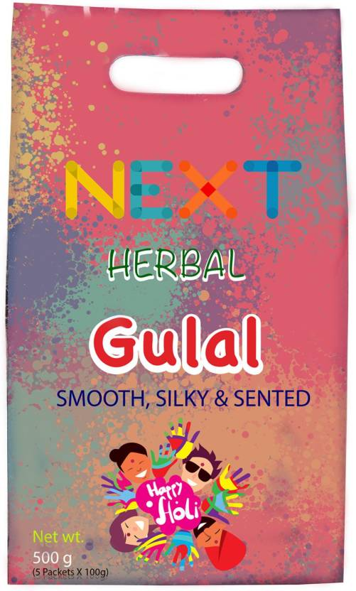 Next Herbal gulal Holi Color Powder Pack of 5  (Purple, Yellow, Green, Blue, Orange, 500 g)- 40% OFF