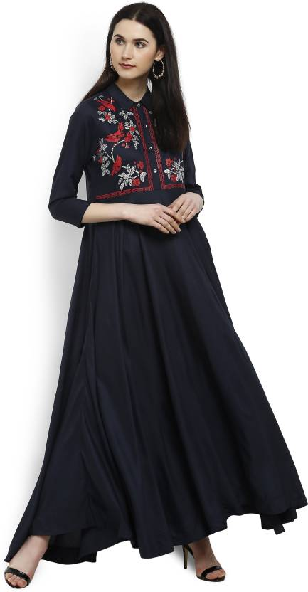 ebed280370f Vishudh Women s Printed Straight Kurta - Buy NAVY BLUE RED Vishudh ...