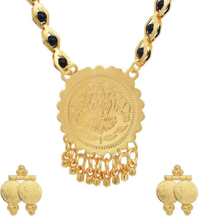 7463c81fbaf31 DzineTrendz DzineTrendz Gold plated Laxmi Coin, Black beaded ...