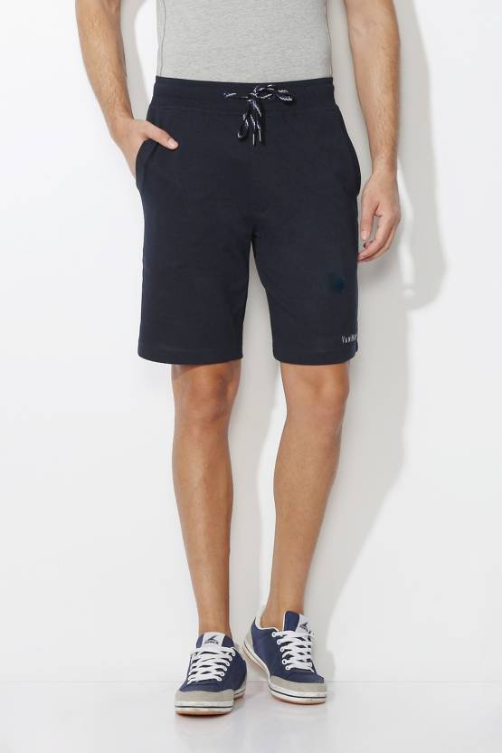 Van Heusen Solid Mens Dark Blue Basic Shorts