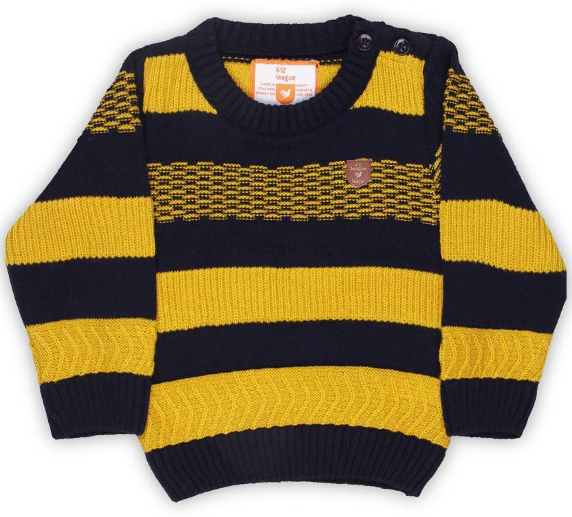 26a2d62b9 612 League Striped Round Neck Casual Baby Boy s   Baby Girl s Yellow ...