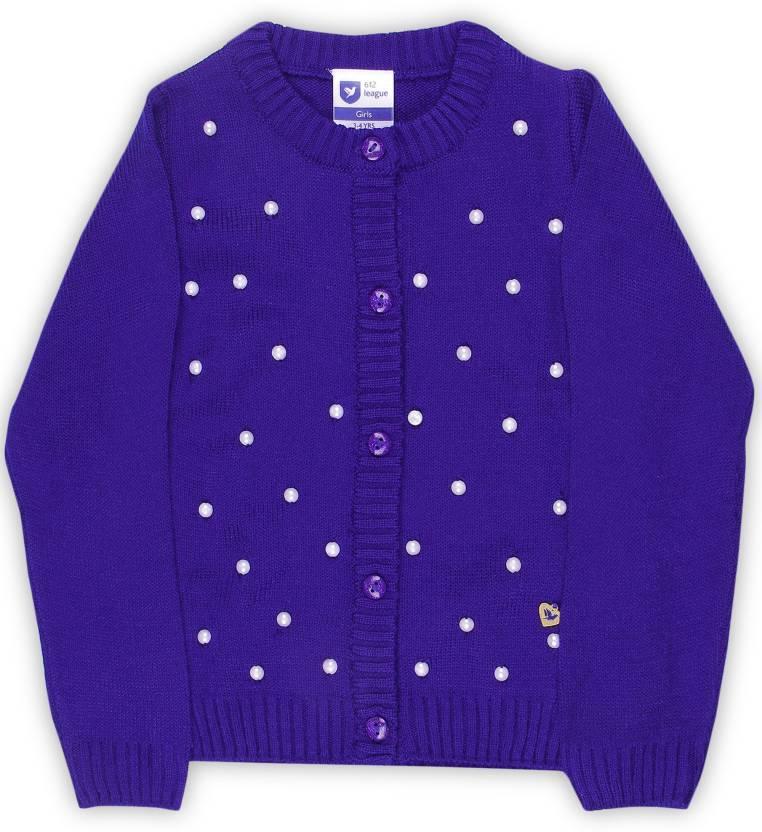 fd51a10ff56e 612 League Girls Button Self Design Cardigan Price in India - Buy ...