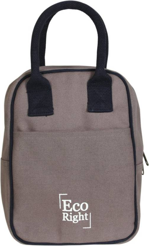 b7c2ad55c ECORIGHT Reusable Lunch Tote Bag - Cotton Canvas Eco Friendly & Insulated  Cooler Washable with Zipper for Men, Women, Adults (Grey) - 0711 Waterproof  Lunch ...