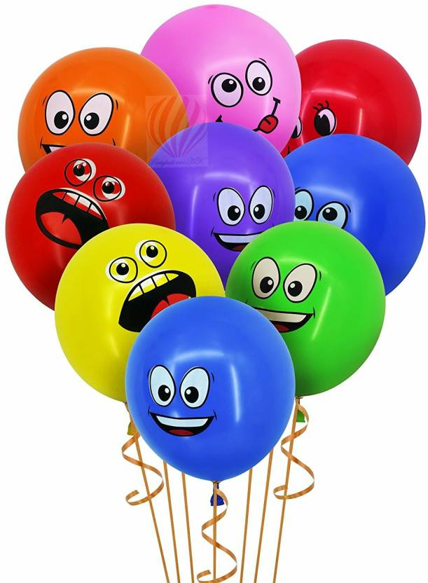 PartyballoonsHK Printed 12inch Emoji Face Expression Latex Multicolor Balloons Happy Birthday Party Inflatable Wedding Decoration Air