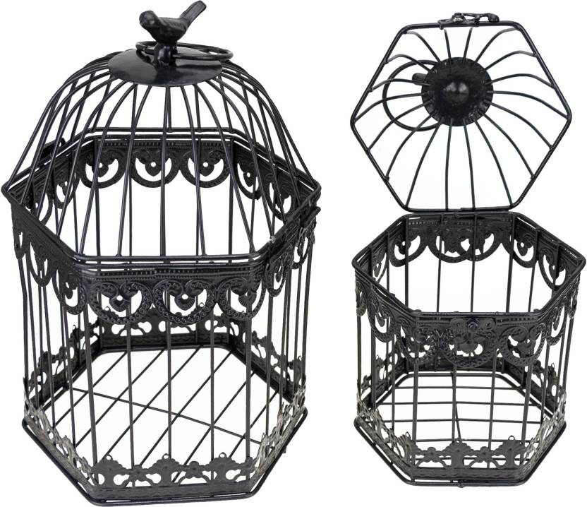 Zevora Home Decorative Bird Cage With Hanging Iron Tealight Holder
