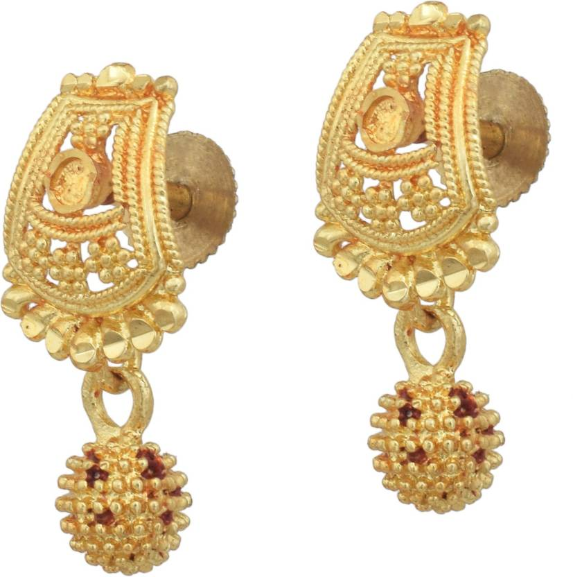 Dzinetrendz Gold Plated Br South Indian Style Stud Earrings With Jhumki Tle Stylish