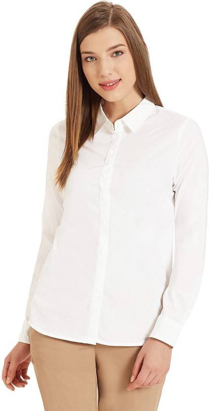 a2d4e190eed7 Trendyfrog Women Solid Formal White Shirt - Buy Trendyfrog Women Solid  Formal White Shirt Online at Best Prices in India