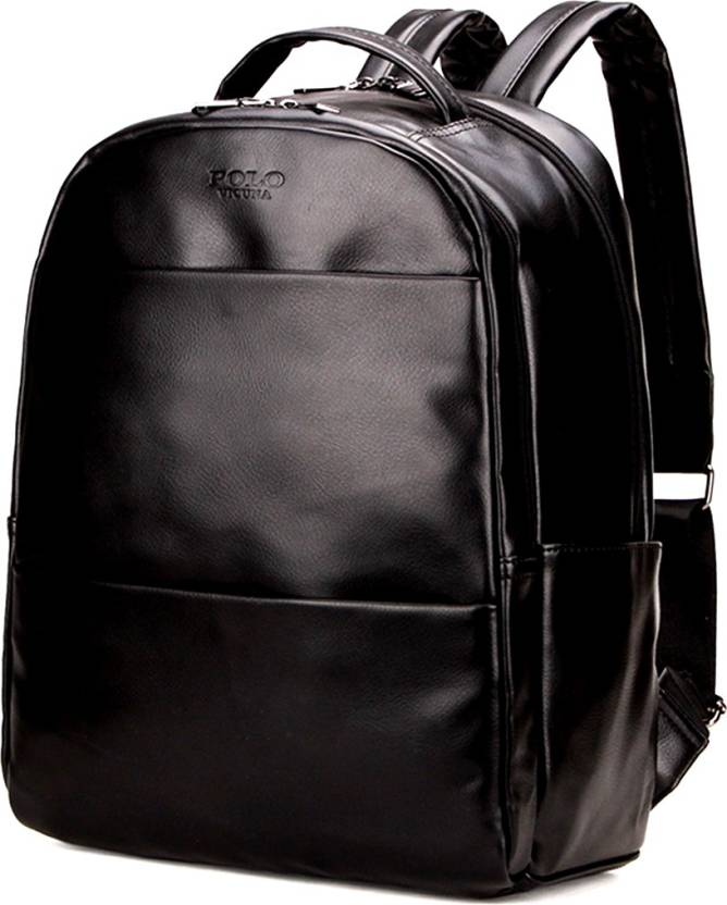 9b8fa96d724e VICUNA POLO leather light weight college backpack Laptop Bag Waterproof  Backpack (Black