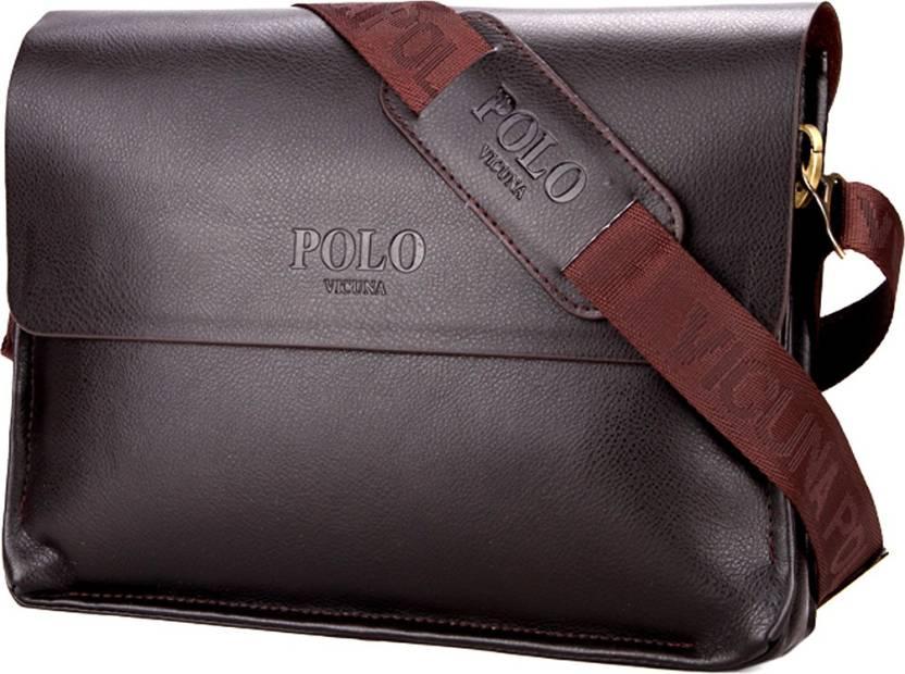 VICUNA POLO Crossbody Shoulder Mens Clear PU Leather Messenger Bag for Business  Men Waterproof Shoulder Bag (Brown 438f26d7cb8c2