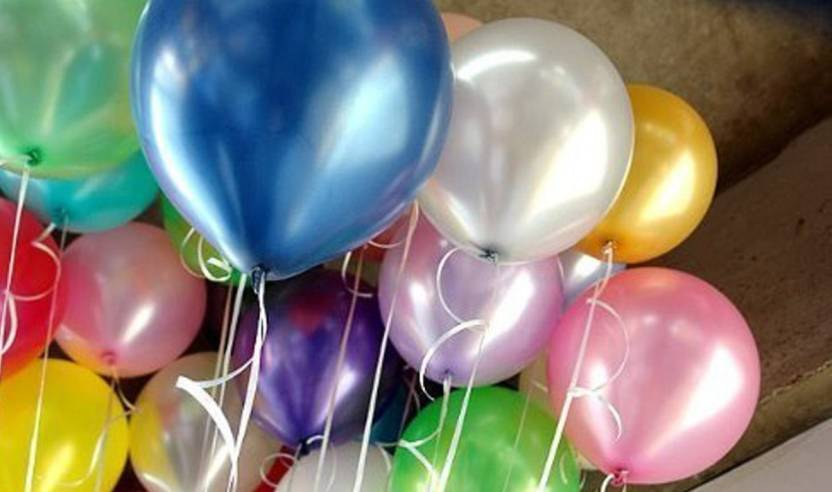 AMFIN Solid 10 Inch Pack Of 100 Multi Metallic Balloons For Birthday Decoration