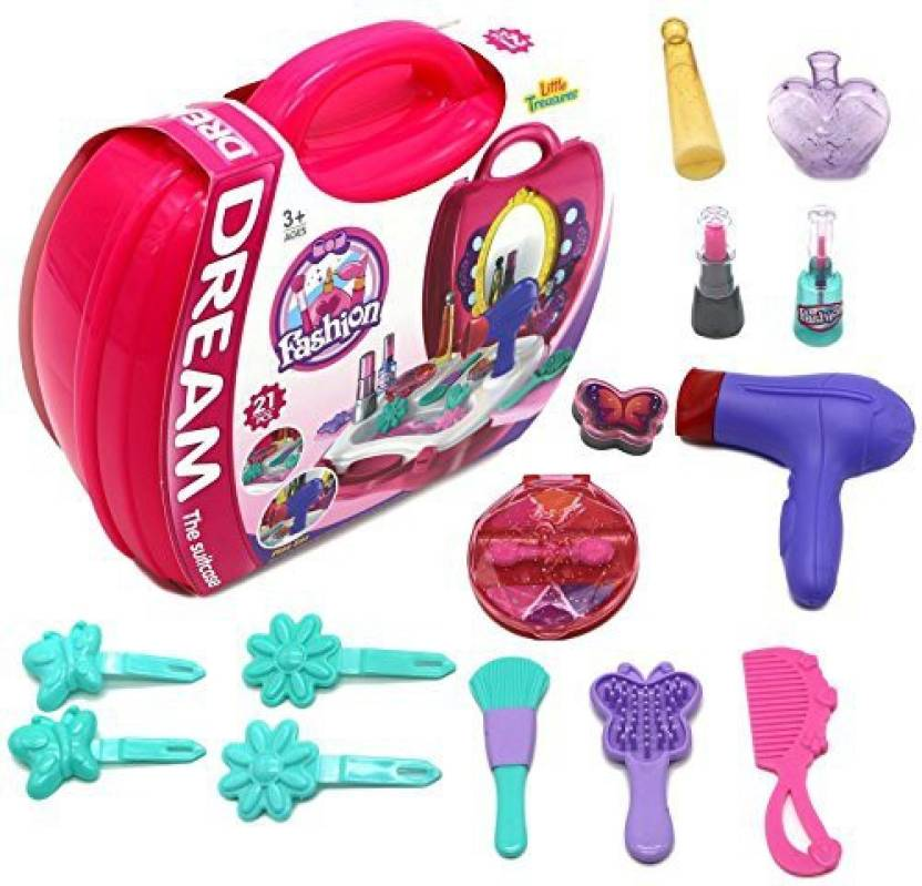 4958a790341d2 Generic Little Treasures Girls Dream Beauty Pretend Play Set - Makeup Set    Hair Styling Set All In 1 For Kids 3+ (Multicolor)