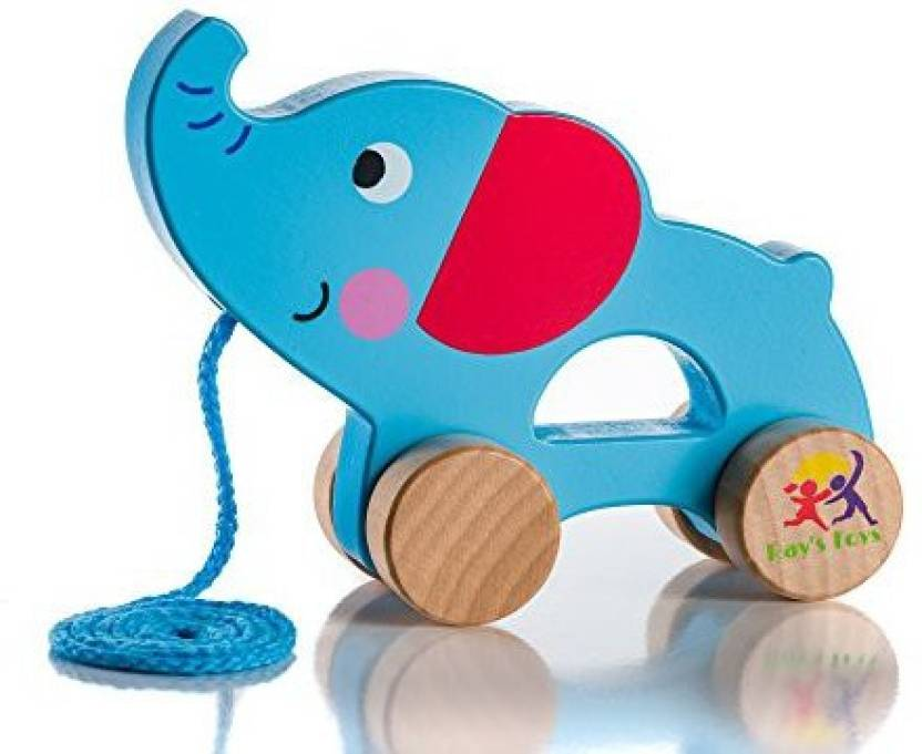 Ray S Toys Wooden Pull Along Elephant Toy Beautiful Elephant Pull