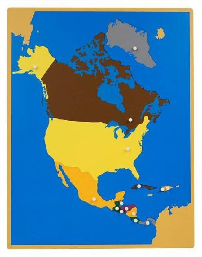 Map Of North America Unlabeled.Generic Montessori North America Wooden Puzzle Map With Labeled And