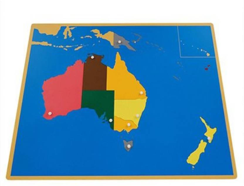 Australia Map Jigsaw.Generic Montessori Australia Puzzle Map With Labeled And Unlabeled