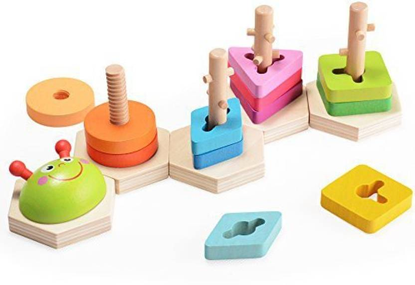Wooden Peg Puzzle Geometric Shapes Young Children Toddler Learning