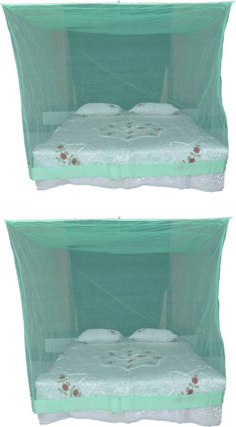 Shreejee Nylon S 2 Pcs Double Bed Lite Green Color Mosquito Net 6x6 Feet